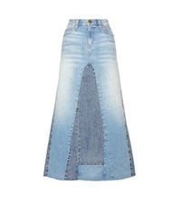 Current Elliott The Reconstructed Denim Maxi Skirt Blue