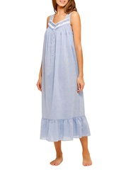 Eileen West Lace Trimmed Nightgown Blue