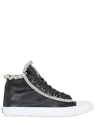 Black Dioniso Leather And Swarovski Trim Sneakers