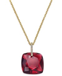Kate Spade New York Hidden Gems Gold Tone Geometric Crystal Pendant Necklace Red