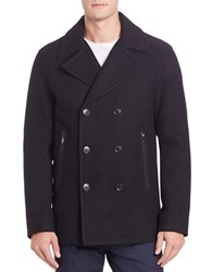 Michael Kors Double Breasted Wool Blend Peacoat Black