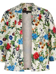 Mela Loves London Floral Scuba Kimono Jacket White