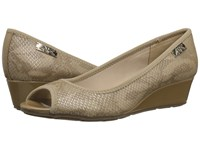 Anne Klein Camrynne Light Natural Reptile Women's Wedge Shoes Neutral