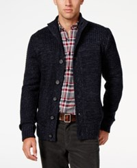 Weatherproof Vintage Men's Big And Tall Shawl Collar Waffle Knit Cardigan Only At Macy's Navy