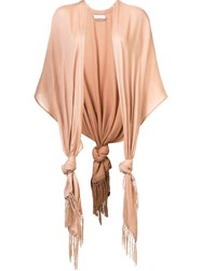 Ryan Roche Fringed Cape Nude And Neutrals
