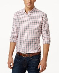 Tommy Hilfiger Big And Tall Men's Baldwin Tattersall Plaid Long Sleeve Shirt Tea Rose