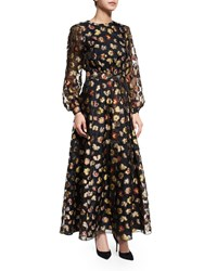 Long Sleeve Floral Peasant Gown Multi Colors