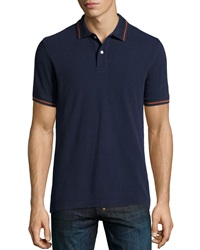 Tailor Vintage Tipped Pique Cotton Polo Navy