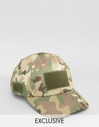 Reclaimed Vintage Baseball Cap With Velcro Camo Green
