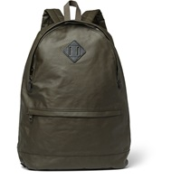 Leather Trimmed Coated Cotton Backpack Green