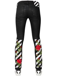 Off White Coated Embroidered Skinny Cotton Denim