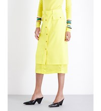 Sies Marjan Button Down Crepe Midi Skirt Neon