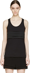 Neil Barrett Black Jersey And Satin Pleated Band Tank Top
