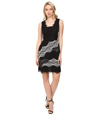 Maggy London Diamond Stripe Lace Fit And Flare Dress Black White Women's Dress