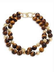 Kenneth Jay Lane Two Row Tiger Eye Beaded Necklace Tigers Eye
