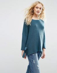 Asos Jumper With Tie Sides Petrol Blue