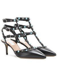 Valentino Starstudded Leather Kitten Heel Pumps Black