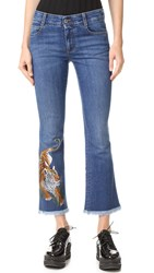Stella Mccartney Tiger Embroidered Skinny Kick Jeans Dark Blue