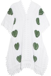 Miguelina Tyra Printed Cotton Muslin And Lace Coverup White