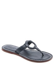 Bernardo Matrix Leather Thong Sandals Navy Blue