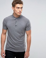 United Colors Of Benetton Cashmere Blend Short Sleeve Knitted Polo Mid Grey 507