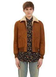 Saint Laurent Vintage Shearling Leather Flight Jacket Brown