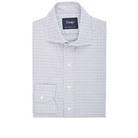 Drakes Tattersall Dress Shirt Purple