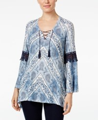 Styleandco. Style Co. Crochet Trim Printed Top Only At Macy's Blue Print