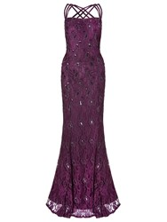 Ariella Alana Lace Beaded Triple Strap Gown Plum