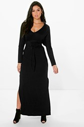Boohoo Batwing Obi Belt Maxi Dress Black