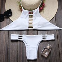 Bae High Neck Halter Cut Out Cheeky Brazilian By Milaniaswim