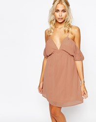 Fashion Union Cami Dress With Cold Shoulder Pink