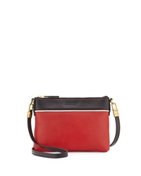 Hare Hart Togo Colorblock Pouch Crossbody Bag Flame Red Black