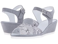 Ara Cadence Grey Snake Print Suede Women's Sandals Silver