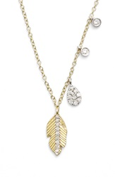Meira T Leaf Pendant Necklace Yellow Gold White Gold