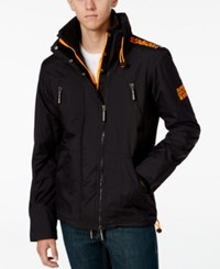 Superdry Men's Polar Wind Attacker Coat Black Fluro Orange