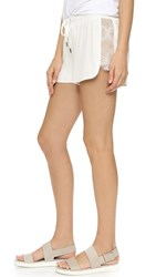 David Lerner Silk Shorts With Lace Scallop Soft White
