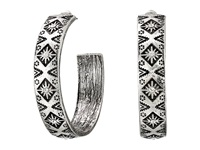 Mandf Western Southwest Engraved Medium Hoop Earrings Silver Earring