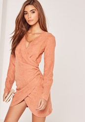 Missguided Pink Faux Suede T Bar Twist Front Wrap Dress