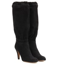 Chloe Suede Knee High Boots Grey