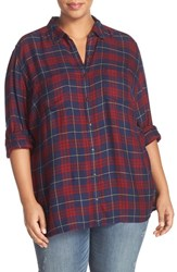 Caslonr Plus Size Women's Caslon Long Sleeve Plaid Shirt Navy Red Plaid