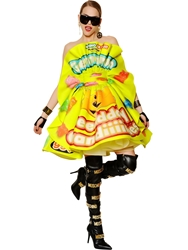 Moschino Candies Printed Heavy Silk Organza Dress Lime Green