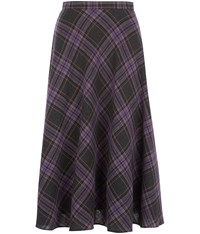 Cc Bias Cut Check Skirt Purple
