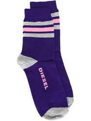 Diesel Striped Socks Pink And Purple