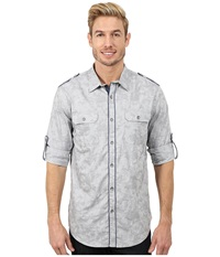 Dkny Long Sleeve Roll Tab Jacquard Camo Shirt Casual Wash Grey Men's Long Sleeve Button Up Gray
