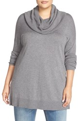 Caslonr Plus Size Women's Caslon Cowl Neck Tunic Sweater Grey Dark Heather