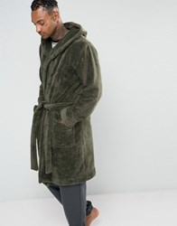 Asos Loungewear Hooded Dressing Gown In Khaki Forest Nights Green