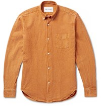 Our Legacy 1950S Button Down Collar Linen And Cotton Blend Shirt Orange