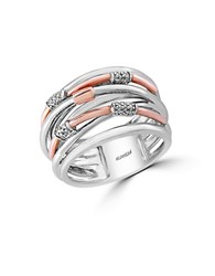 Effy 14K Rose Gold 925 Sterling Silver And Diamond Ring Two Tone