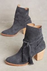 Anthropologie Huma Blanco Braided Suede Booties Dark Grey
